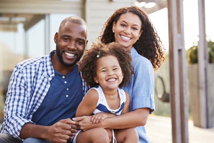 Young happy black family
