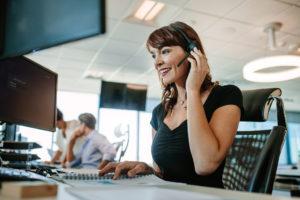 Woman taking an insurance claim